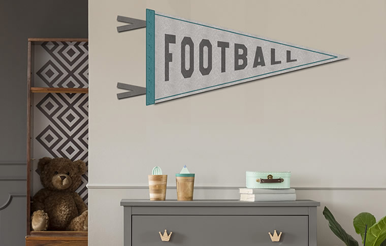 sports pennant on wall