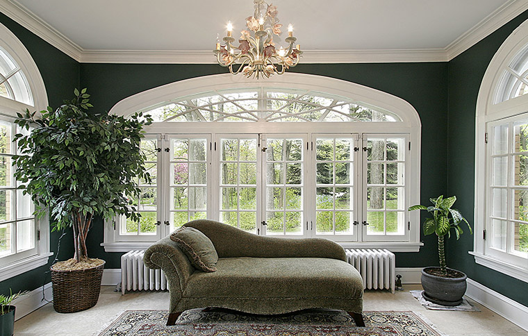 couch in sunroom