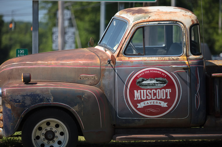 rusty vintage truck at muscoot