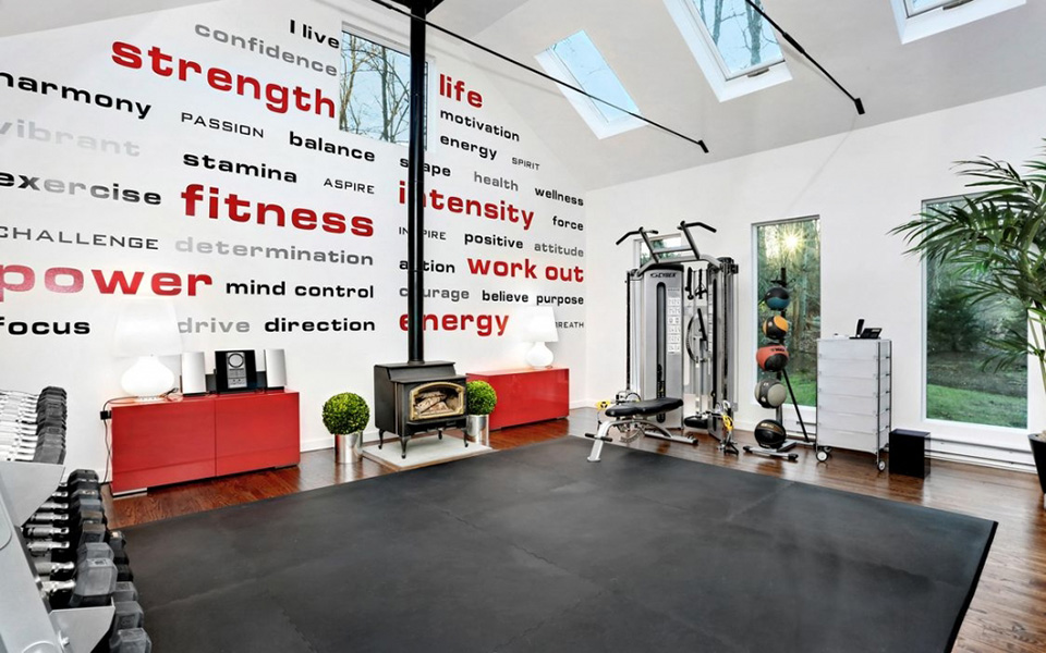home gym with wall art
