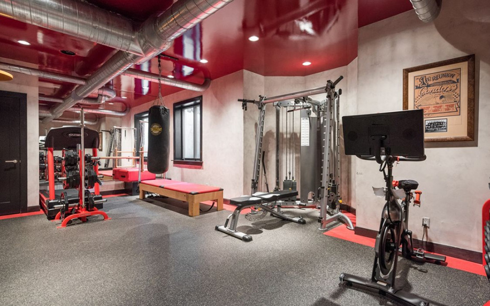home gym with industrial ducts
