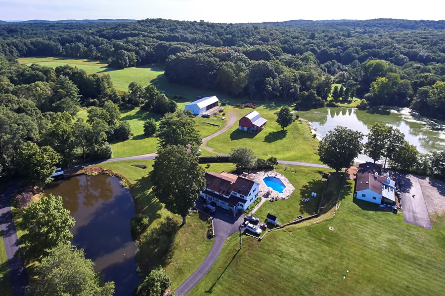 aerial of farm estate