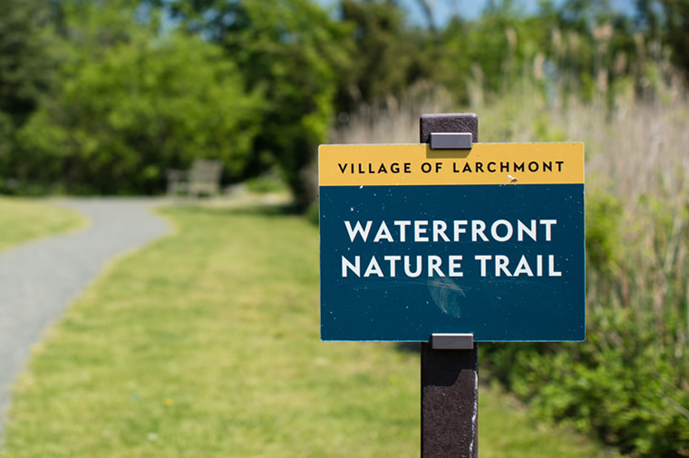 larchmont waterfront nature trail sign