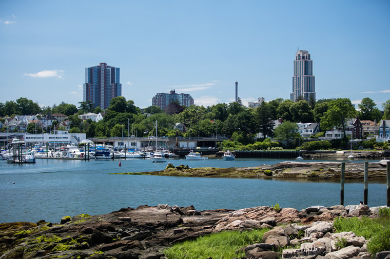 new rochelle skyline and water