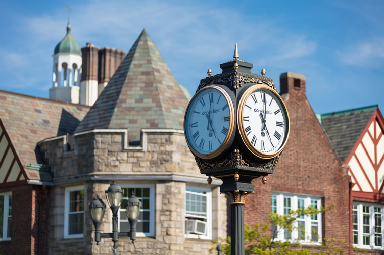 scarsdale clock and buildings