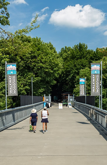 walkers on walkway over the hudson